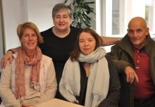 Der Vorstand am Sonntagmorgen: Christiane Auracher, Fotini Papadopulu, Susanne Thiel und Helmut Bauer.